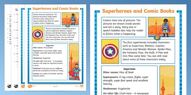 Superheroes Reading Comprehension Activity