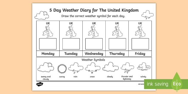5 day weather diary for the united kingdom worksheet activity. Black Bedroom Furniture Sets. Home Design Ideas