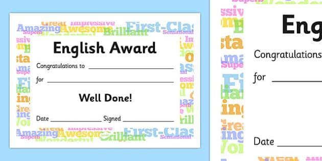 English Award Certificate - English Award Certificate, English