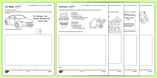 Student Led Practice Sheet Budget at Home Compound Interest and