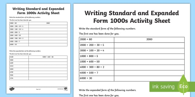 Writing Standard And Expanded Form 1000s Worksheet Activity
