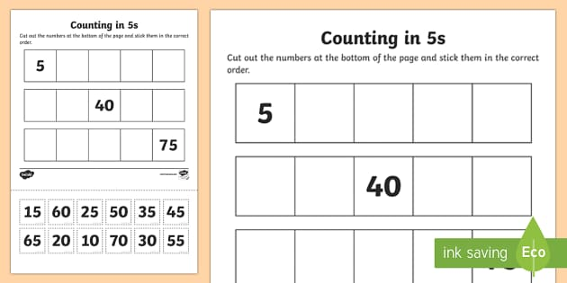 counting in 5s cut and stick worksheet activity sheet. Black Bedroom Furniture Sets. Home Design Ideas
