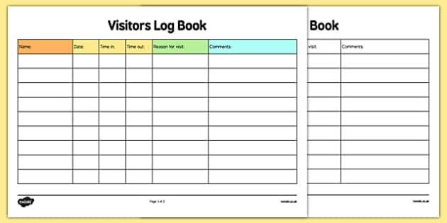 childminder visitors log book