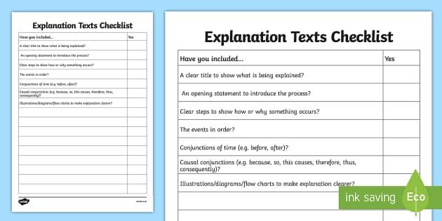 Free Explanation Texts Checklist Explanations