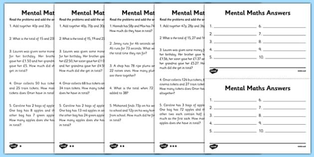 mental maths adding worksheets maths worksheet mental maths. Black Bedroom Furniture Sets. Home Design Ideas