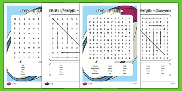 Black And White State Of Origin Word Search Teacher Made