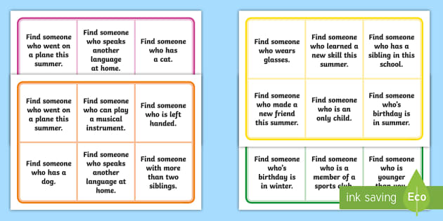 Get to know each other bingo