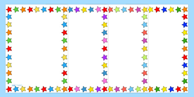 Multicoloured Star Page Borders And Frames