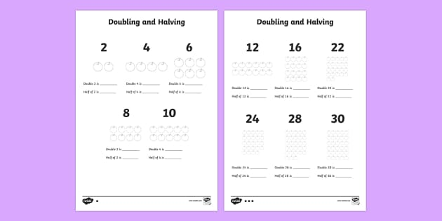 Ks1 Doubling And Halving Worksheet Primary Resources