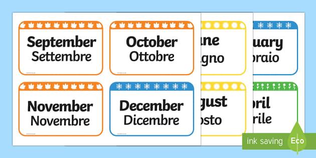 English In Italian: Months Of The Year Flash Cards English/Italian
