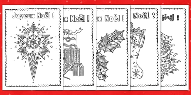 French Christmas Cards | Mindfulness Colouring | Twinkl