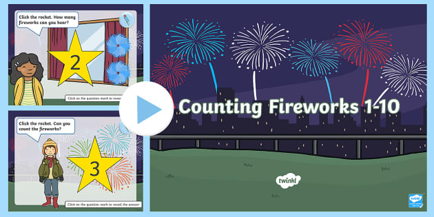 Counting Fireworks 1 10 Powerpoint Teacher Made