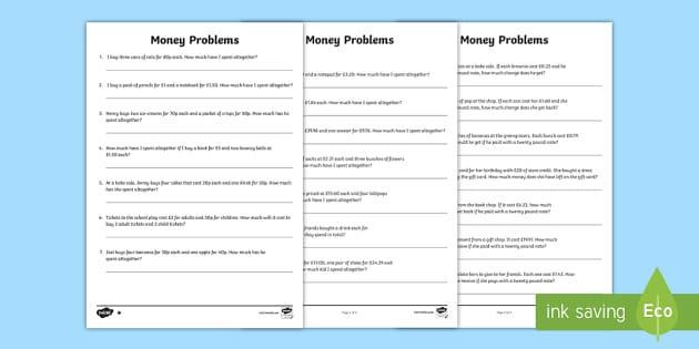 ks2 maths money problems primary resource twinkl. Black Bedroom Furniture Sets. Home Design Ideas