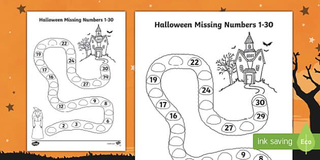 Halloween Spooky House Missing Numbers to 30 Worksheet /