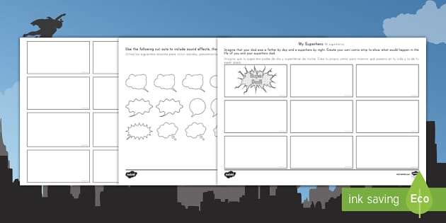 Fathers Day Superhero Comic Strip Storyboard Template Us