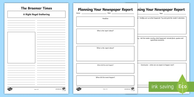 Braemar Gathering Newspaper Report Planning And Template