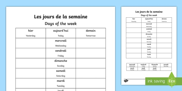 Worksheet : Days Of The Week - English/French (teacher Made)