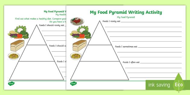 Healthy Eating Food Pyramid Writing Activity Teacher Made