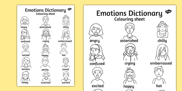 Emotions Dictionary Coloring Sheet (teacher made)