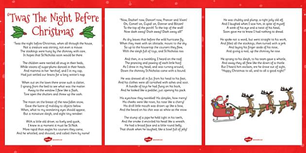 twas the night before christmas lyric sheet twas the night