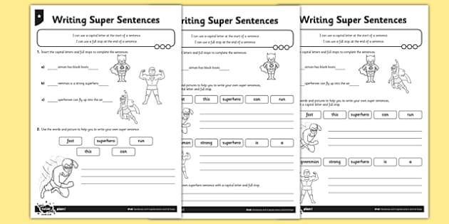 writing super sentences differentiated worksheet activity. Black Bedroom Furniture Sets. Home Design Ideas