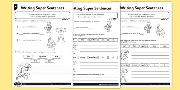 writing super sentences differentiated worksheet worksheet pack gps. Black Bedroom Furniture Sets. Home Design Ideas