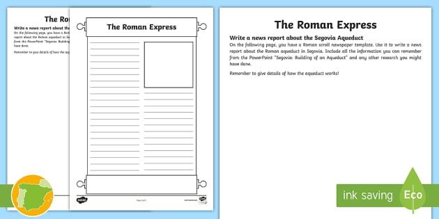 Segovia Aqueduct News Report Worksheet / Activity Sheet   Roman