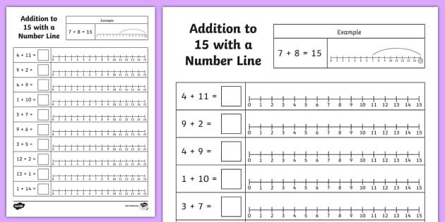 Addition to 15 With a Number Line Worksheet / Worksheet