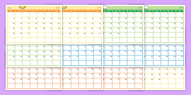 Academic Year Monthly Calendar Planning Template 2018-2019 ...