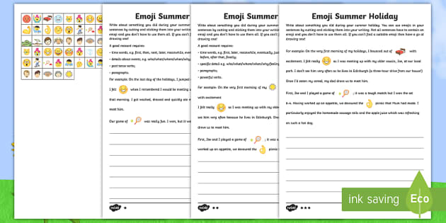 ks2 emoji summer holiday write up differentiated worksheet activity sheets. Black Bedroom Furniture Sets. Home Design Ideas