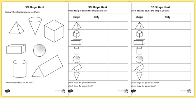 3d shape hunt worksheet activity sheet 3d shape hunt. Black Bedroom Furniture Sets. Home Design Ideas