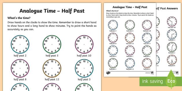 analogue time half past worksheet activity sheet ni ks1. Black Bedroom Furniture Sets. Home Design Ideas