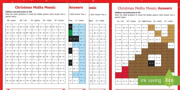 christmas maths mosaic worksheet worksheets mosaic maths maths activity. Black Bedroom Furniture Sets. Home Design Ideas