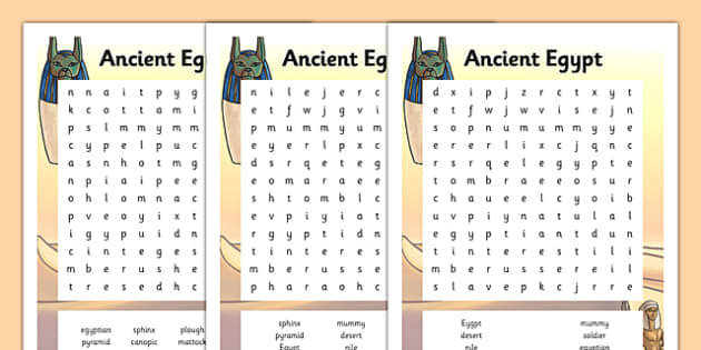 Ancient Egypt Word Search Game - Softschools.com