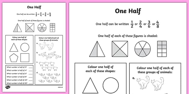 Fractions Halves Worksheet  Worksheet  Numeracy Maths Half Fraction