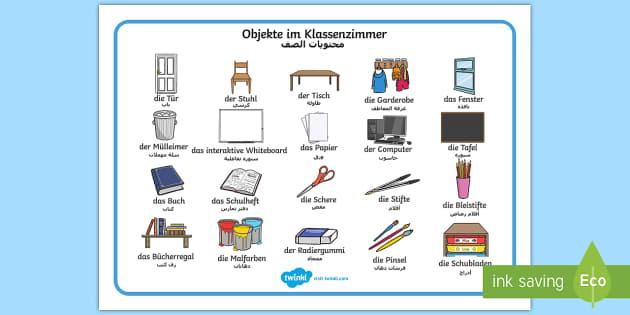 Deutsch-Arabische Objekte im Klassenzimmer Wortschatz:
