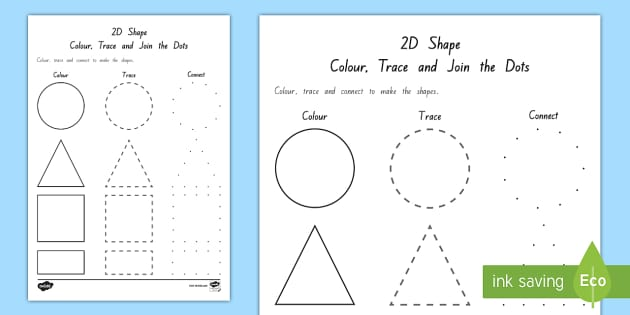 2D Shape Colour, Trace And Join The Dots Activity