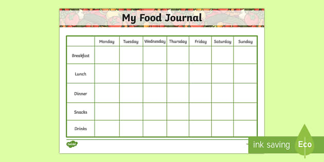 Daily Health Journal For Tracking Food