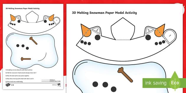 Simple 3d Melting Snowman Christmas Activity Paper Craft