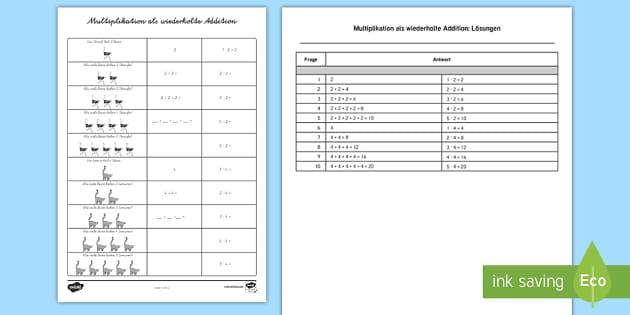 Multiplikation als wiederholte Addition Arbeitsblatt