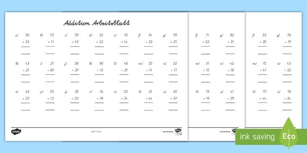 NEW * Addition mit zweistelligen Zahlen Arbeitsblätter