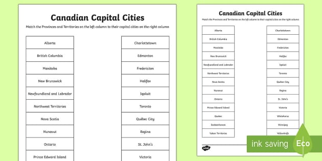 canadian capital cities matching worksheet    worksheet