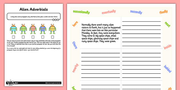 Linking Paragraphs Using Adverbials Application Activity Test