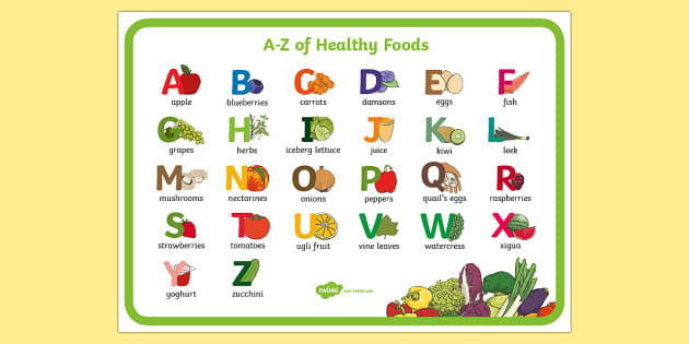 food that starts with the letter u a z of healthy display poster healthy food healthy 21760