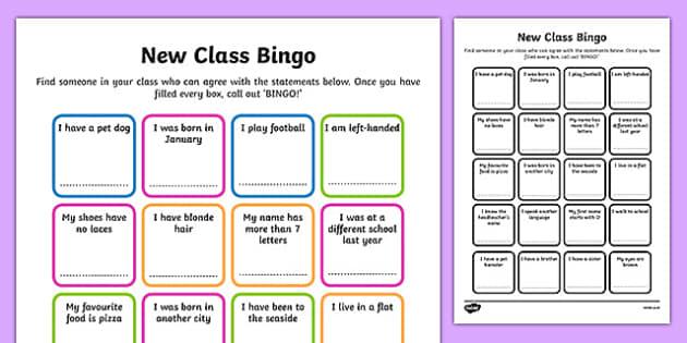 New Class Bingo - transition, games, classroom games