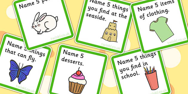 name 5 things categories card game  sort match sen games