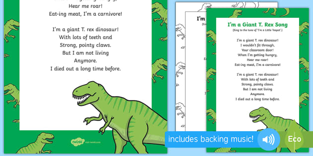 I'm a Giant T  Rex Song - EYFS, Early Years, KS1, dinosaurs