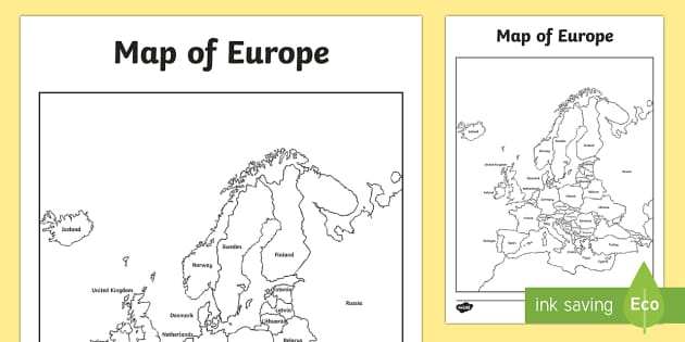 Map of Europe With and Without Names geography europe map – Map of Europe Worksheet