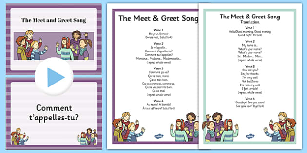 French The 'Meet and Greet' Song Pack and Lyrics Presentation