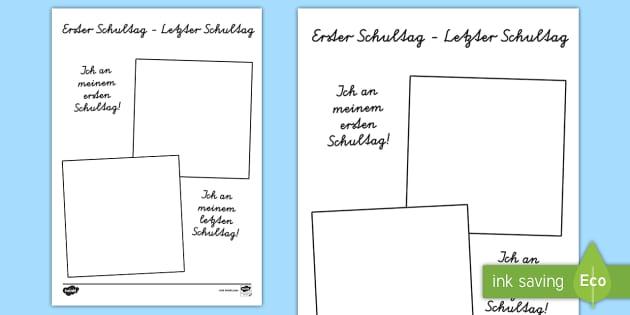 Erster Schultag Letzer Schultag Bilderrahmen Arbeitsblatt